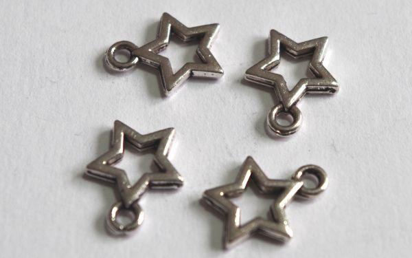 1 Anhänger Stern offen 10mm silber/platin Metall Charms 17278