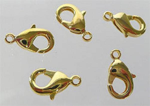 10 x Kettenverschluss 12x7mm gold Karabiner 07812