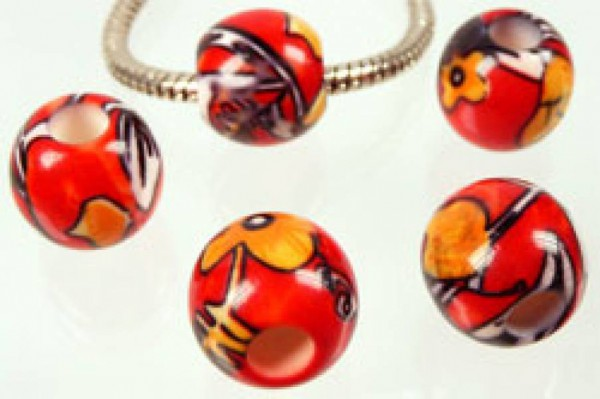 1 Bead aus Kunststoff 14mm orange rot gemustert 3613