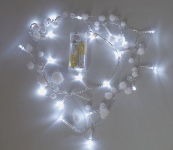 LED Schneeball Lichterkette 20 Lämpchen kaltweiß - Batteriebetrieb