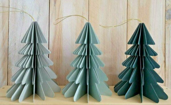 3er Set Papier Baum grün 15cm Tanne Anhänger Baumschmuck faltbar Magnet