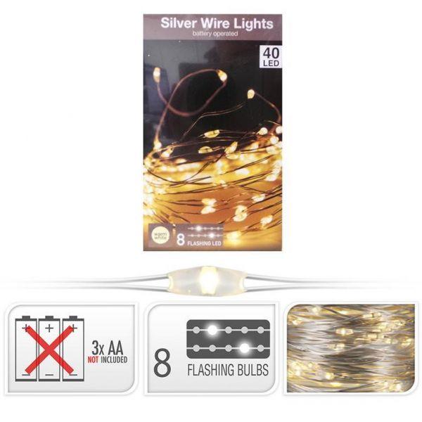40er LED Drahtlichterkette mit 8 funkelnden LEDS warmweiß