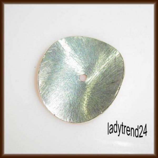 1 Scheibe 18mm gewellt silber gebürstet Metall 1831