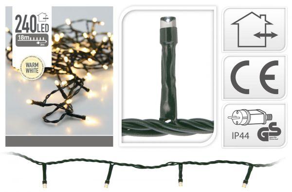 LED Lichterkette 240 Lämpchen warmweiss für innen und außen grünes Kabel Strom