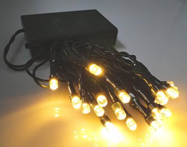 LED - Lichterkette 20 Lämpchen warmweiß - grünes Kabel - Batteriebetrieb