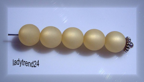 5 Polarisperlen 10mm beige matt