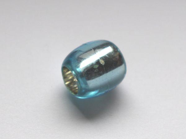 10 Beads 13,5x12mm Olive Kunststoff Silberfolie hellblau 025276