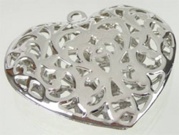 1 Anhänger Metallherz silber/platin filigran 02763
