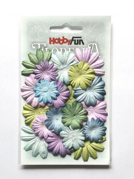 20 Papierblüten Mix IV 2-4cm blau flieder grün