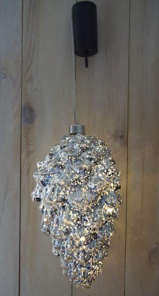 1 LED Zapfen 25 x 15cm beleuchtet silber Batteriebetrieb innen und außen