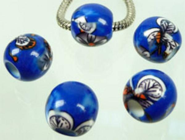 1 Bead Kunststoff Perle 14mm blau gemustert 3617