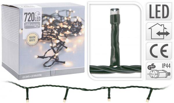 LED Lichterkette 720 Lämpchen warmweiss für innen und außen grünes Kabel Strom