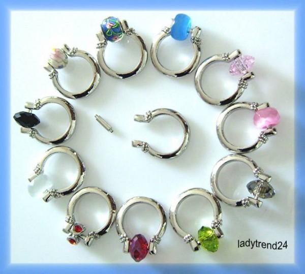 1 Wechselring 18mm silber für Beads 0018