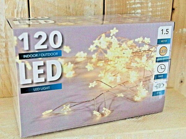 LED Drahtlichterkette Timer 120 Sterne warmweiß