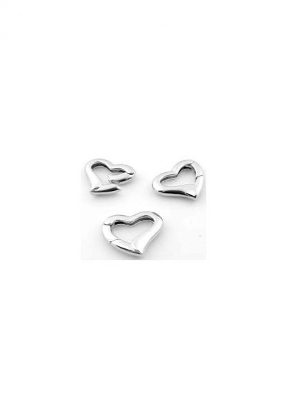 1 Herz Verschluss Ring für Charms 24x20mm silber/platin 12084