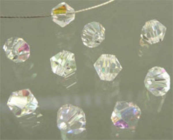50 Kristallperlen 4mm bicone kristall AB 4861