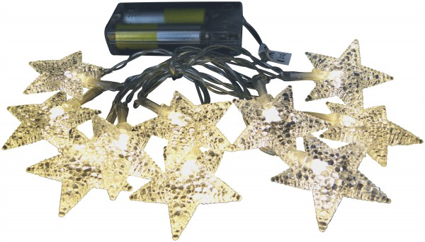 LED Lichterkette 10 Acryl Sterne warmweißes Licht Batteriebetrieb