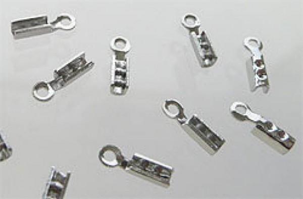 20 Lederbandkäppchen 7mm silber/platin Metall 07744