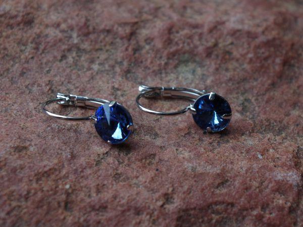 1 Paar Klapp Ohrhaken mit Strass-Stein 10mm blau 01328