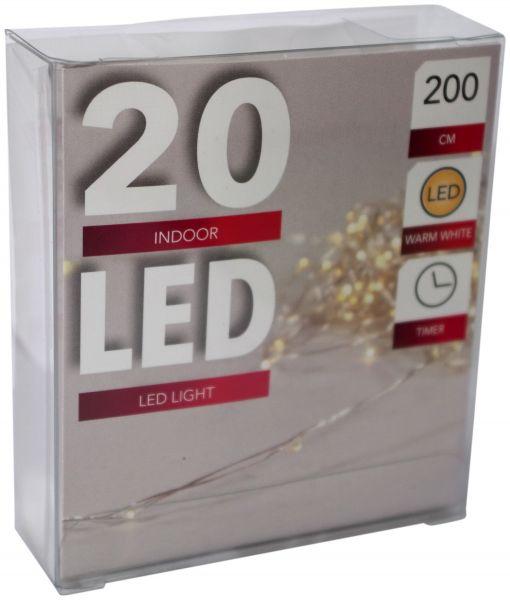 LED Lichterkette 20er Micro Silberdraht Timer batteriebetrieben warmweiß