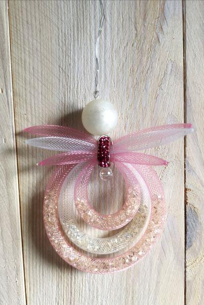 Bastelpackung Engel Rose aus Schlauchband zum Aufhängen