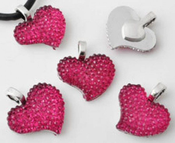 1 Anhänger Charms Herz silber pink Metall/Kunststoff 20mm 10923