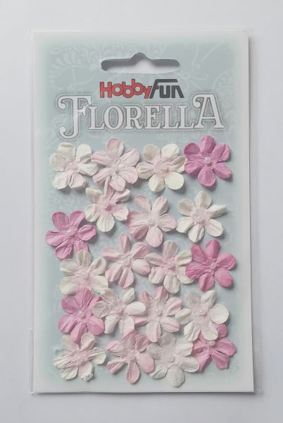 20 Papierblüten fuchsia für Glücksfee