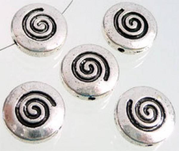 1 Metallperle flach Schnecke 14mm silber/platin 07339