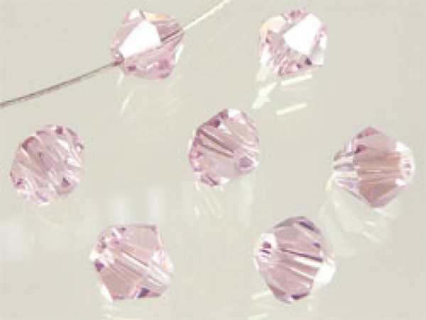 50 Kristallperlen 4mm bicone rosa 4784