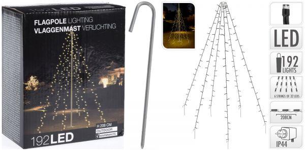 192er LED Fahnenmast Lichterkette Strom warmweiß