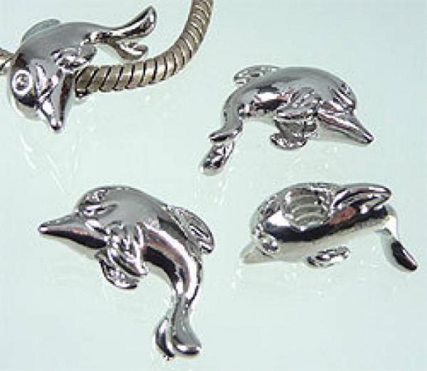 1 Bead Delfin silber Metall Schraubgewinde 06250