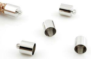 2 Endkappen 11x7mm für Band oder Netzschlauch Metall silber/platin 12230