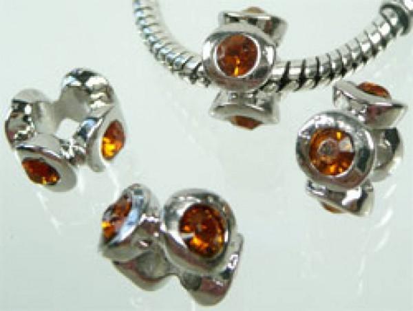 1 Metallbead Strass Rondelle topas silber 0884