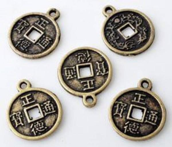 1 Anhänger Charms Münze 15mm Metall altgold/bronze Glücksmünze 10801