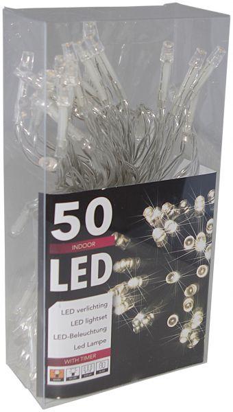 LED - Lichterkette 50 Lämpchen mit Timer warmweiß - Batteriebetrieb