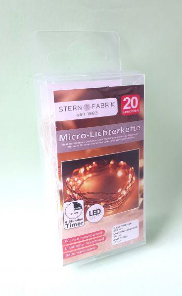 20-er LED Drahtlichterkette für Glücksfeen Batteriebetrieb Timer warmweiß