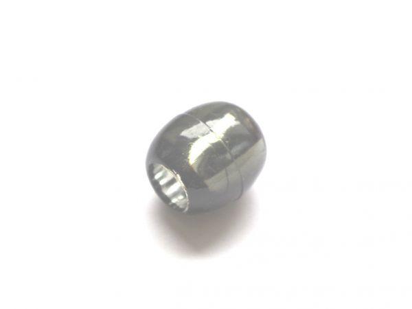 10 Beads 13,5x12mm Olive Kunststoff Silberfolie grau 025273