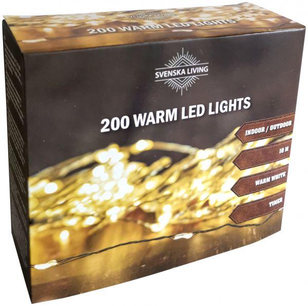 LED Draht Lichterkette warmweiß 200er Tropfen Strombetrieb Timer für innen und außen
