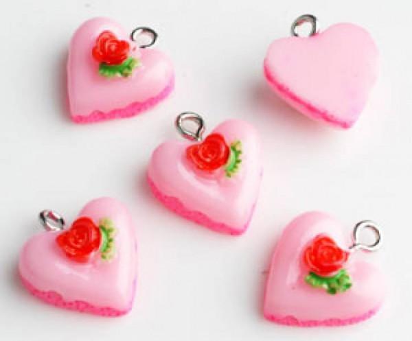 1 Anhänger Törtchen Herz rosa 010467