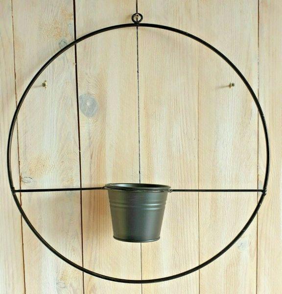 Metallring mit Topf Durchmesser 40cm zum Dekorieren in der Farbe schwarz