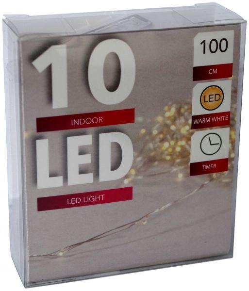 LED Lichterkette 10er Micro Silberdraht Timer batteriebetrieben warmweiss
