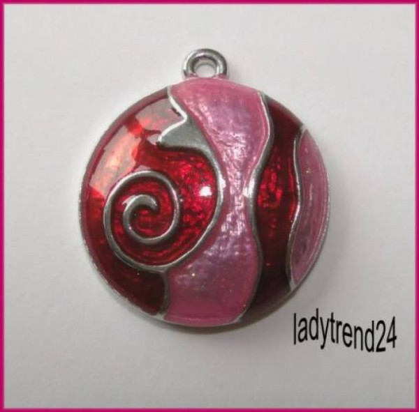1 Anhänger Metall Epoxy rot rosa silber 23mm 18948