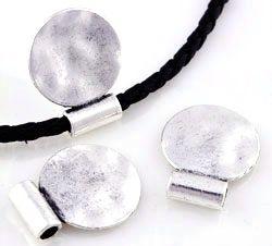 1 Schiebeperle Großloch Metall silber/platin 20mm Metall 16018