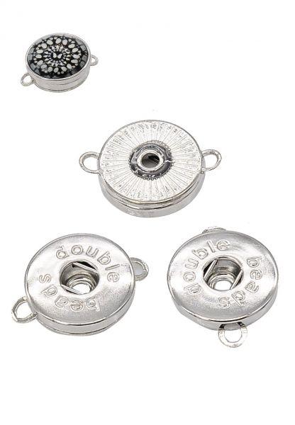 1 Zwischenteil für Double Bead Click Druckknopf silber/platin 13204