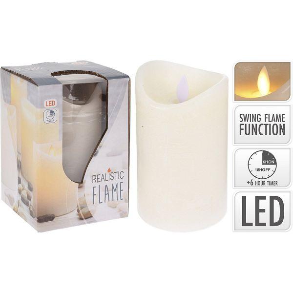 LED Kerze mit 6 Stunden Timer bewegliche Flamme Echtwachs 7.5cm x 10cm