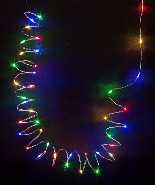 LED Lichterkette 20er Micro Silberdraht batteriebetrieben bunt
