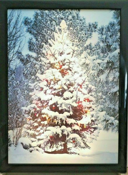 LED 3D Bild Batterie Weihnachtsbaum Schnee 40x30