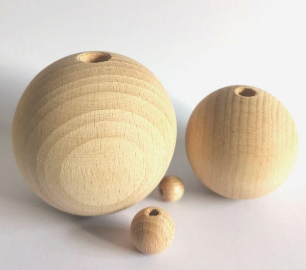 1 Holzkugel gebohrt für Glücksengel oder Glücksfeen 10 - 60mm