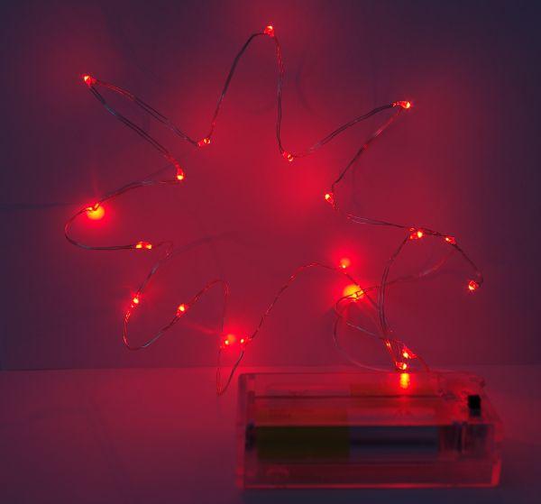 Led Lichterkette 40er Micro Silberdraht batteriebetrieben rot