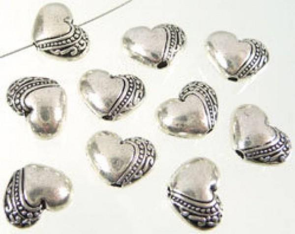 5 Metallperlen Herz 10mm silber/platin Perle 06333